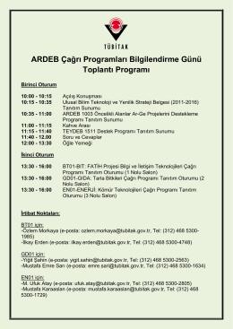 ARDEB Çağrı Programları Bilgilendirme Günü Toplantı Programı