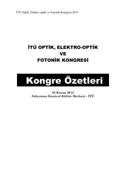 Kongre Sunum Özetleri - İTÜ Optik Elektro