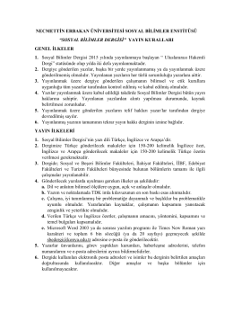sosyal bilimler dergisi - Konya Necmettin Erbakan Üniversitesi