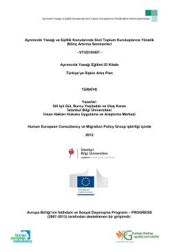 Ayrımcılık Yasağı ve Eşitlik Konularında Sivil Toplum Kuruluşlarına