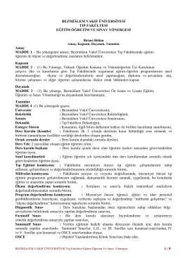 Tıp Fakültesi Eğitim-Öğretim ve Sınav Yönergesi
