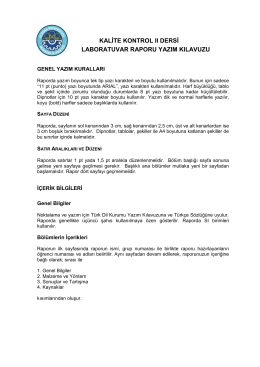 TEK 4003 Tekstilde Kalite Kontrol II Dersi Laboratuvar Raporu