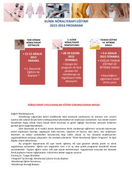 klinik nöralterapi eğitimi 2015-2016 programı