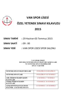 Van Spo Lisesi´nin sınav kılavuzunu indirmek için TIKLAYINIZ