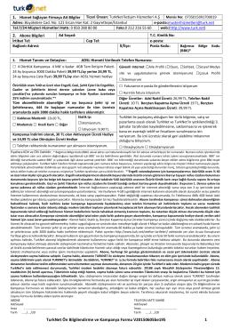 TurkNet Ön Bilgilendirme ve Kampanya Formu (1/3)