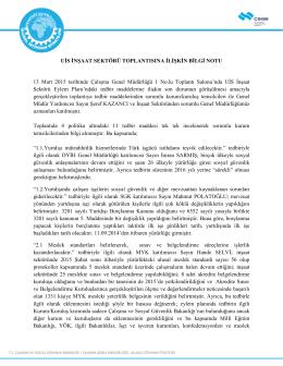 13.03.2015 Tarihli Toplantı - Ulusal İstihdam Stratejisi