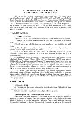 4/B - Aile ve Sosyal Politikalar Bakanlığı