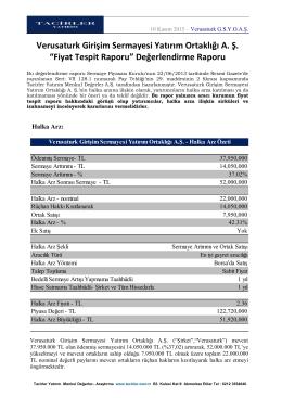 """Verusaturk Girişim Sermayesi Yatırım Ortaklığı A. Ş. """"Fiyat Tespit"""