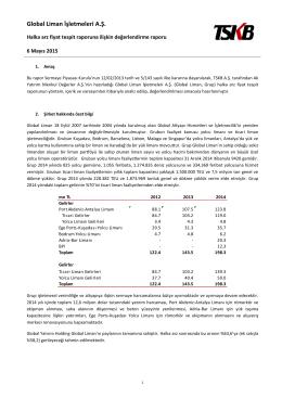TSKB Global Liman fiyat tespit raporuna ilişkin analist raporu