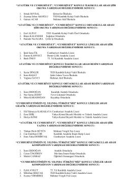 29 Ekim Cumhuriyet Bayramı Kapsamında Düzenlenen Yarışmalara