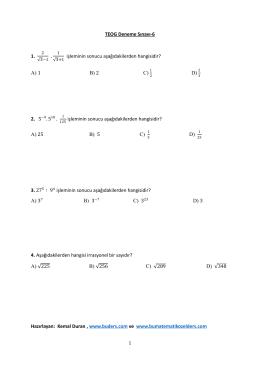 TEOG Deneme Sınavı-6 1. işleminin sonucu
