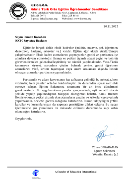 SAYIŞTAY Mektup 10.11.2015 - Kıbrıs Türk Orta Eğitim Öğretmenler