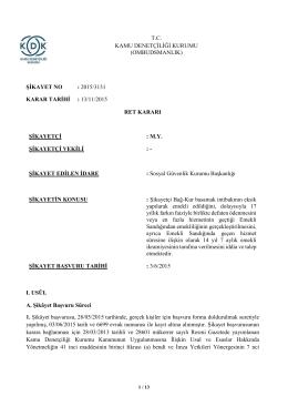 Dosya No: 2015/3131 - Bağ-Kur Basamak İntibakının Eksik