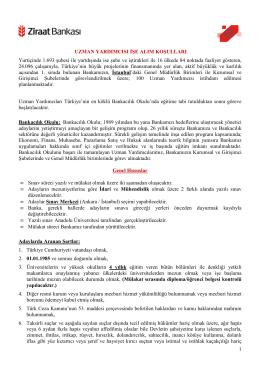 EK 2 UZMAN YRD ALIM ŞARTLARI - Anadolu Üniversitesi Sınav