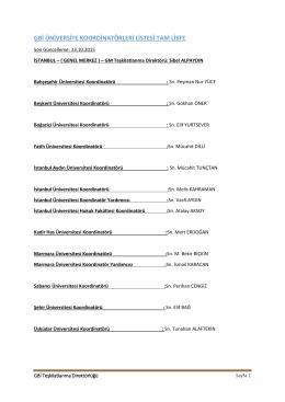 GBİ Üniversite Koordinatörlükleri Listesi İçin Tıklayınız