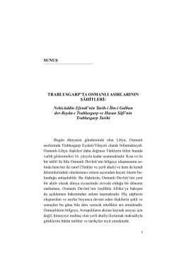 Trablusgarp`ta Osmanlı Asırlarının Şâhitleri: Nehicüddin Efendi`nin