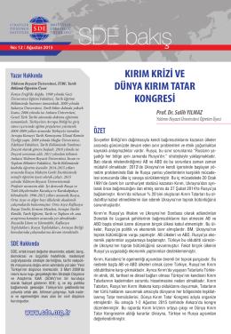 Kırım Krizi ve Dünya Kırım Tatar Kongresi