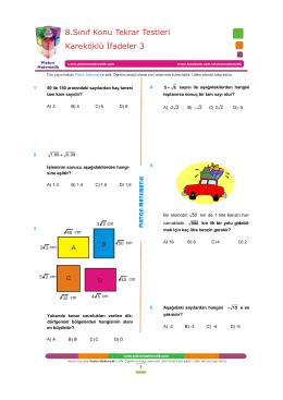 Kareköklü İfadeler 3 8.Sınıf Konu Tekrar Testleri