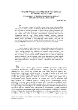 türkiye türkçesi söz varlığının yeni renkleri ad bilimsel