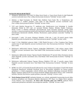 mayıs 2015 meclis karar özeti