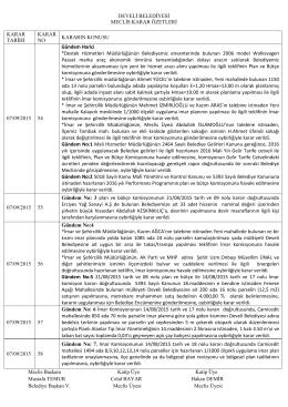 Eylül Ayı Meclis karar özetleri