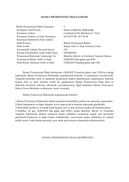 23.06.2015 tarihli banka promosyon ihale kararı