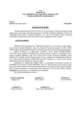 2015 Mart Ayı Meclis Komisyon Kararları