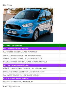 Ford Ticari Araçların 2016 Fiyat Listesini PDF
