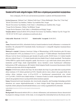 Romatoid artrit`te kemik sintigrafisi bulguları, DAS28 skoru ve