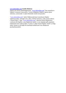 www.dolowhite.com Gizlilik Bildirimi Sipariş için formu