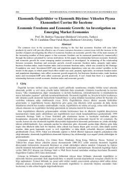 Ekonomik Özgürlükler ve Ekonomik Büyüme: Yükselen Piyasa