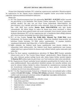 hac kayıt şartları - Danimarka Türk Diyanet Vakfı