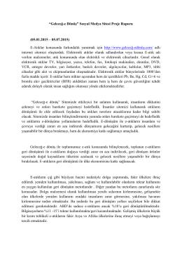"""""""Geleceğ-e Dönüş"""" Sosyal Medya Sitesi Proje Raporu (05.01.2015"""