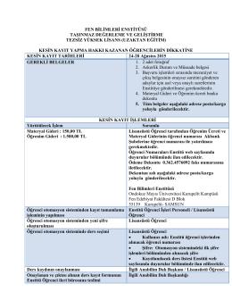 Kesin kayıt işlemleri için - OMÜ Fen Bilimleri Enstitüsü