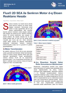 Flux® 2D SEA ile Senkron Motor d-q Eksen Reaktans