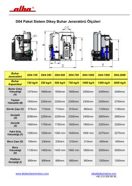 D04 Paket Sistem Dikey Buhar Jeneratörü Ölçüleri