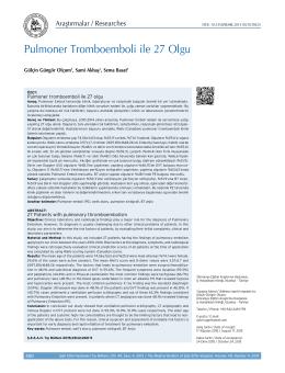 Pulmoner Tromboemboli ile 27 Olgu