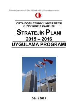 stratejik planı 2015 - Kuzey Kıbrıs Kampüsü