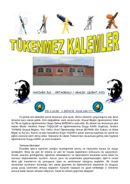 HACIAĞA İLK - ORTAOKULU / ARALIK (ŞUBAT AYI) ZİL ÇALDI! 2
