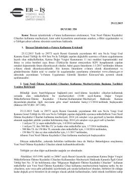 duyuru 350 - Eriş Yeminli Mali Müşavirlik Ltd. Şti.