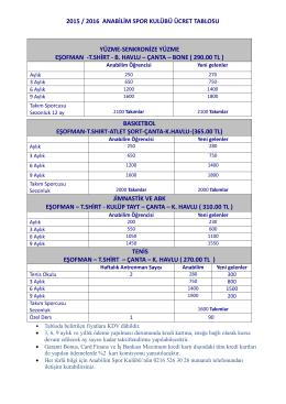 2015 / 2016 anabilim spor kulübü ücret tablosu yüzme