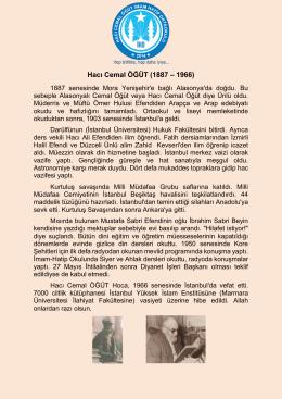 Hacı Cemal ÖĞÜT (1887 – 1966) - Hacı Cemal Öğüt İmam Hatip