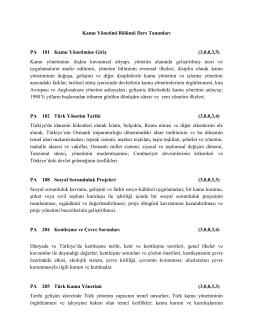 Kamu Yönetimi Bölümü Ders Tanımları PA 101 - iibf