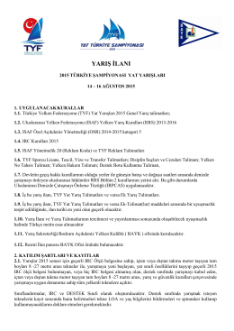 YARIŞ İLANI - Türkiye Yelken Federasyonu