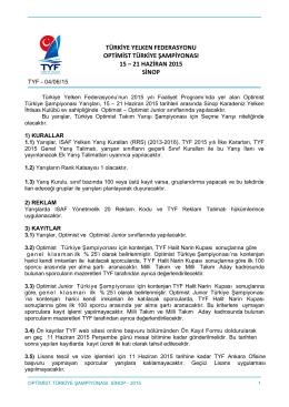 türkiye yelken federasyonu optimist türkiye şampiyonası 15