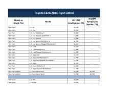 Toyota Ekim 2015 Fiyat Listesi
