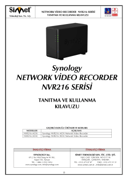 Synology NETWORK VİDEO RECORDER NVR216 SERİSİ