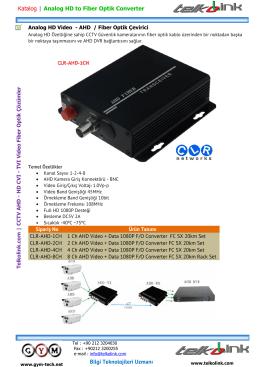 Analog HD Video - AHD Fiber Optik Çevirici