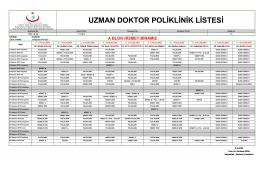 uzman doktor poliklinik listesi - TC Sağlık Bakanlığı Prof. Dr. Türkan