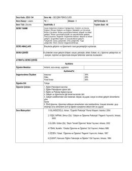 Ders Kodu :EDU 134 Ders Adı : GELİŞİM PSİKOLOJİSİ Ders Düzeyi